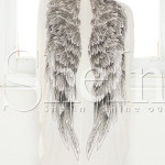 SheIn: Beige Long Sleeve Wings Print Kimono