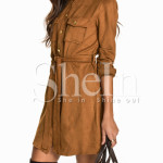 Shein: Brown Long Sleeve Lapel Dress