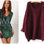 Sweter i cekinowa sukienka z Romwe