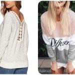 Biała bluzka i bluza Different z Romwe