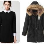 Czarna zimowa parka i elegancka sukienka Romwe