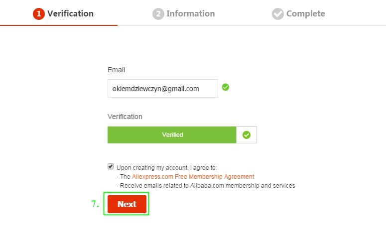 Formularz rejestracji Aliexpress