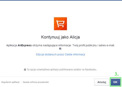 Rejestracja przez Facebooka