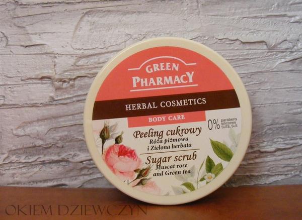 Green Pharmacy Peeling cukrowy Róża piżmowa, Zielona Herbata