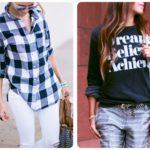 Koszula w kratę i bluza Romwe