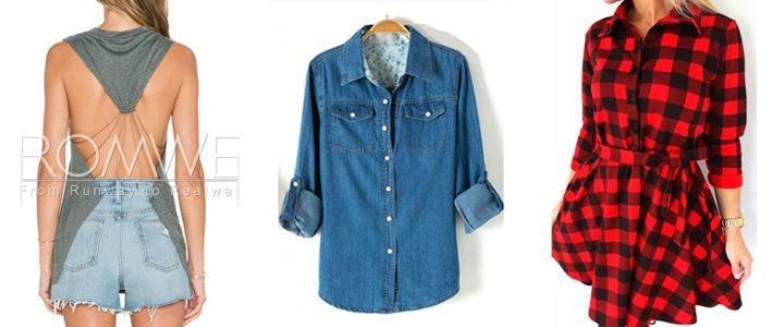 Ozdobna bluzka, jeansowa koszula i sukienka w kratę z Romwe