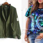 Cekinowa bluzka & zielona kurtka z SheIn