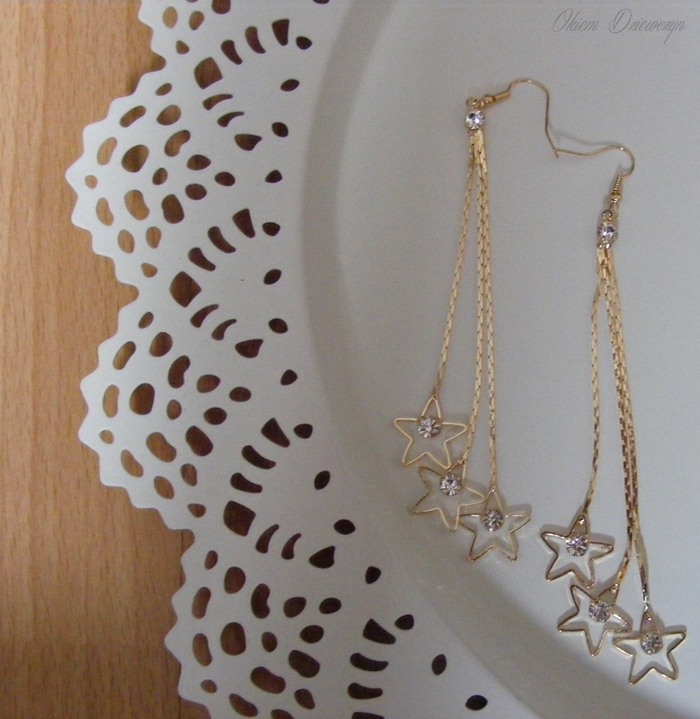 Star-Shape Shiny Earrings Long Tassels Rhinestone Gold