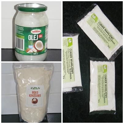 Olej kokosowy nierafinowany, mąka kokosowa, cukier waniliowy na fruktozie