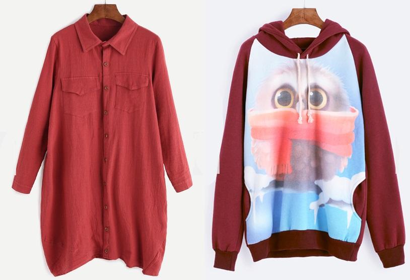 Bordowa koszula i bordowa bluza Romwe