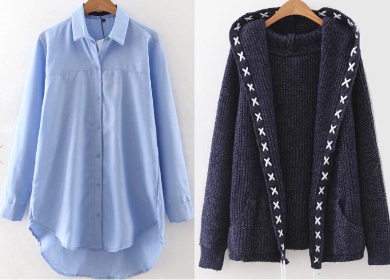 Długa koszula i ciepły sweter z Romwe