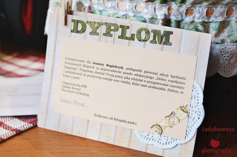 Dyplom dla jednej z Prelegentek od Spichlerz Handmade
