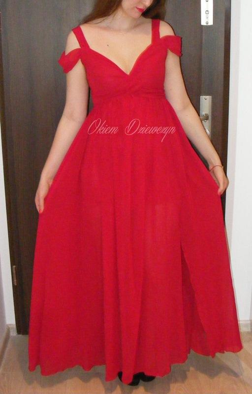 Czerwona maxi sukienka SheIn