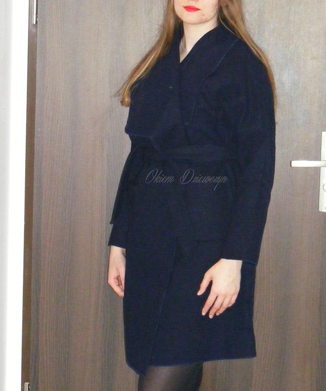 Navy Drop Shoulder Drape Collar Wrap Coat