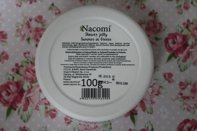Skład galaretki do mycia ciała Nacomi Summer in Greece.