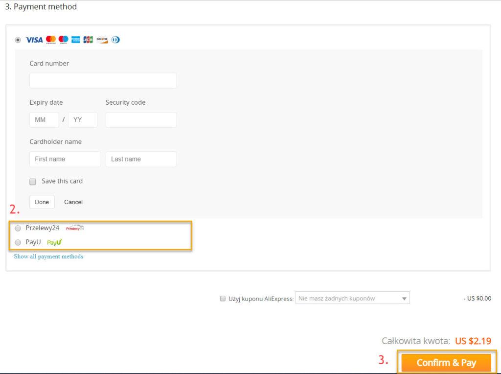 Płatność przez Przelewy24 lub PayU na Aliexpress z przeglądarki