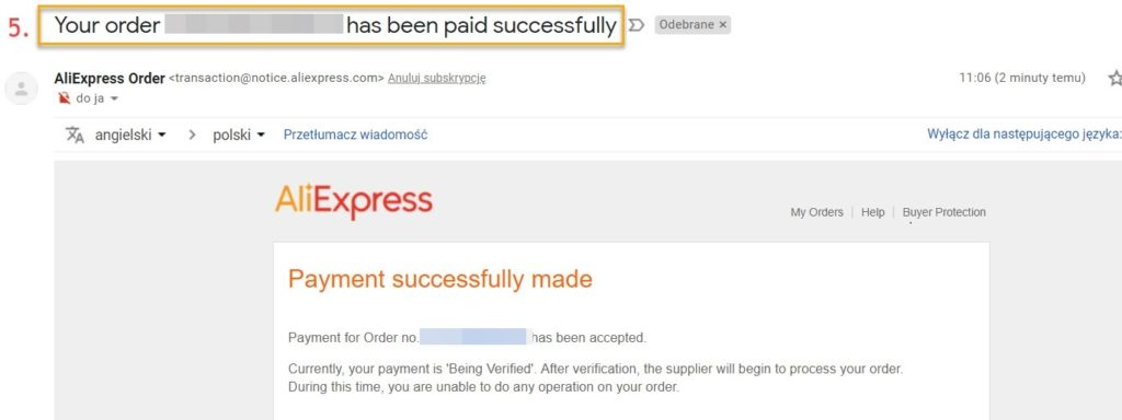 Potwierdzenie płatności przelewem na Aliexpress