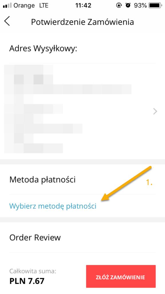 iOS Wybierz inną metodę płatności