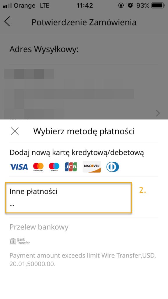 iOS Wybierz rodzaj płatności.